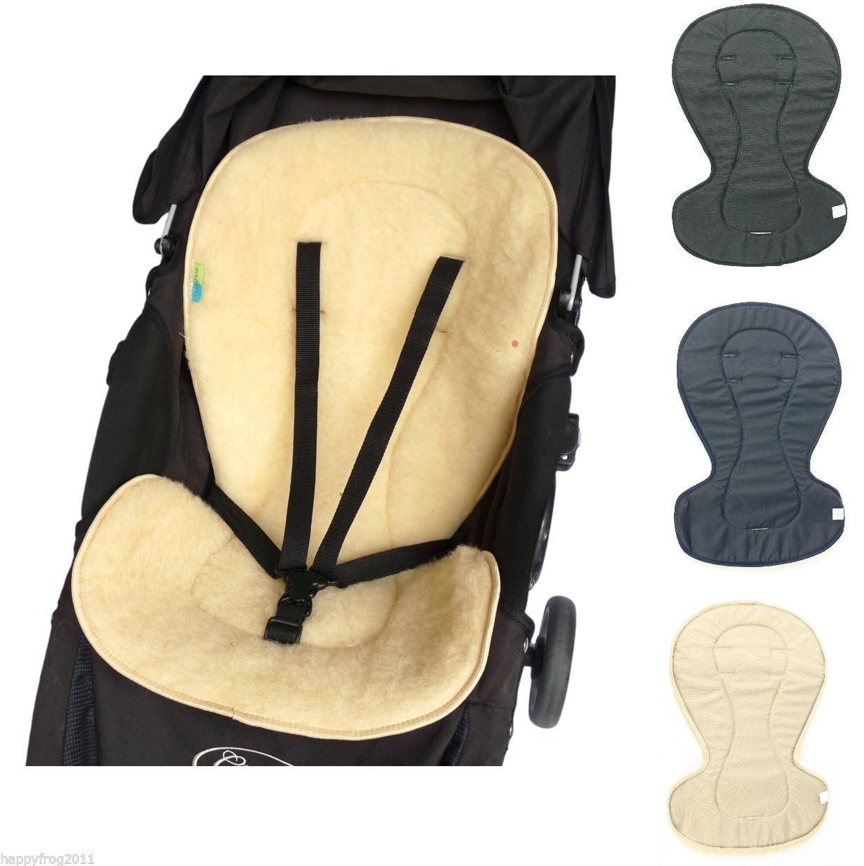 NATURAL SHEEP WOOL LINER COVER MAT for PUSHCHAIR BUGGY PRAM CARSEAT BOUNCY CHAIR
